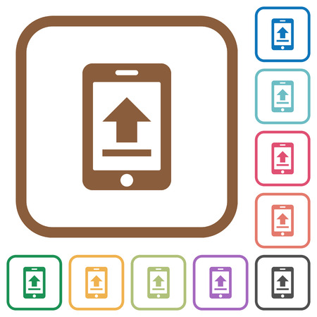 Mobile Upload Simple Icons In Color Rounded Square Frames On ...