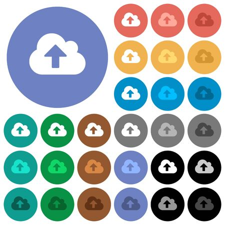 Cloud upload multi colored flat icons on round backgrounds. Included white, light and dark icon variations for hover and active status effects, and bonus shades on black backgounds.
