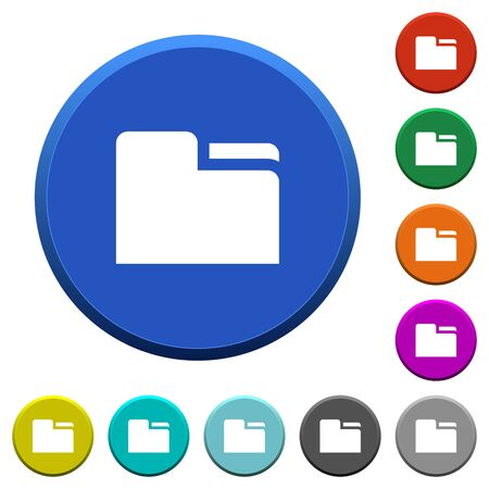 Tab folder round color beveled buttons with smooth surfaces and flat white icons Illustration
