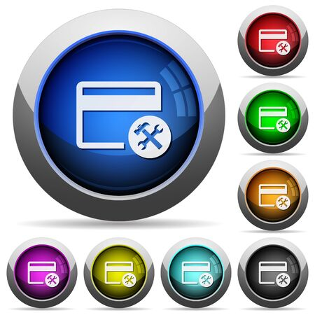 Credit card tools icons in round glossy buttons with steel frames