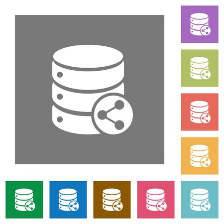 dependencies: Database table relations flat icons on simple color square backgrounds