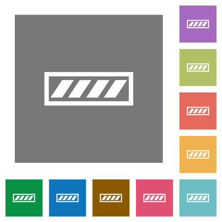 Progress bar flat icons on simple color square backgrounds Illustration