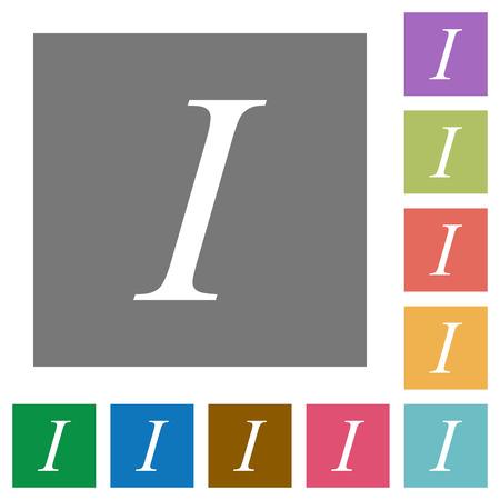 Italic font type flat icons on simple color square backgrounds Ilustração