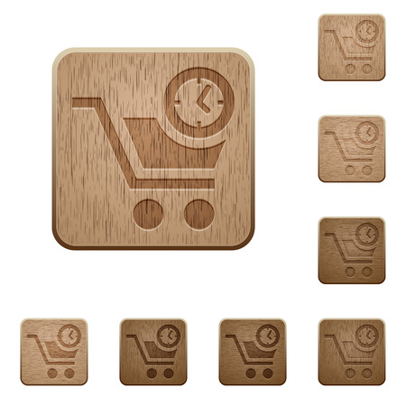 Instant purchase on rounded square carved wooden button styles