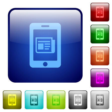 newsfeed: Mobile newsfeed icons in rounded square color glossy button set Illustration