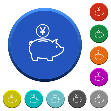 beveled: Yen piggy bank round color beveled buttons with smooth surfaces and flat white icons Illustration