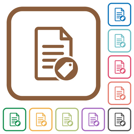 Note tagging simple icons in color rounded square frames on white background Illustration