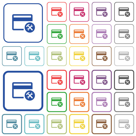 Credit card tools color flat icons in rounded square frames. Thin and thick versions included. Illustration