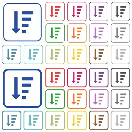 descending: Descending ordered list mode color flat icons in rounded square frames. Thin and thick versions included.