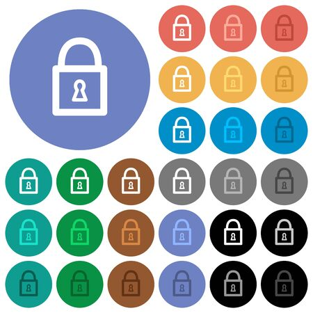 unaccessible: Locked padlock multi colored flat icons on round backgrounds. Included white, light and dark icon variations for hover and active status effects, and bonus shades on black backgounds. Illustration