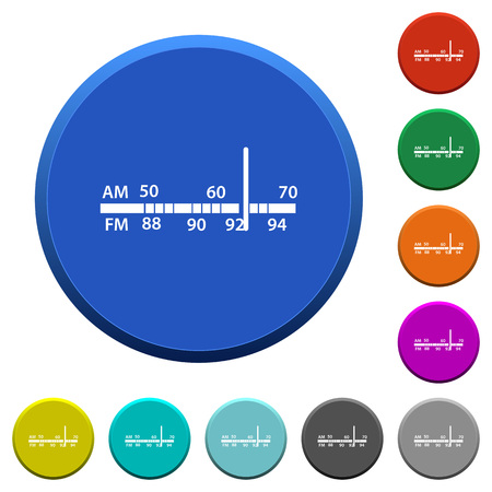 Radio tuner round color beveled buttons with smooth surfaces and flat white icons