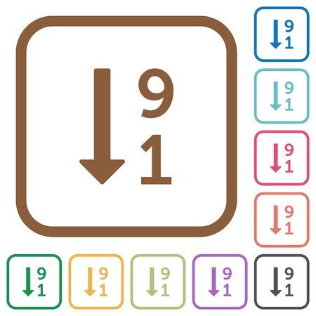descending: Descending numbered list simple icons in color rounded square frames on white background