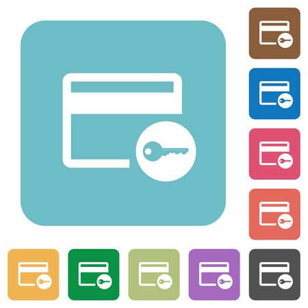 Credit card access white flat icons on color rounded square backgrounds Illustration