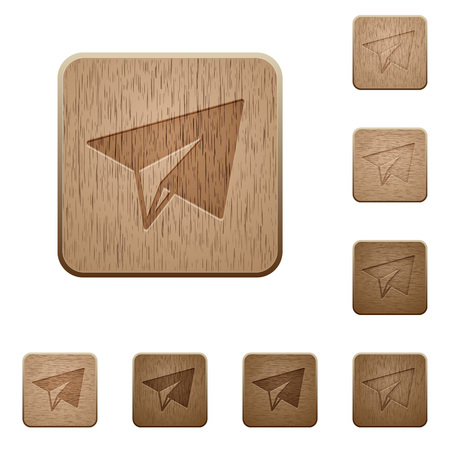 Paper plane on rounded square carved wooden button styles