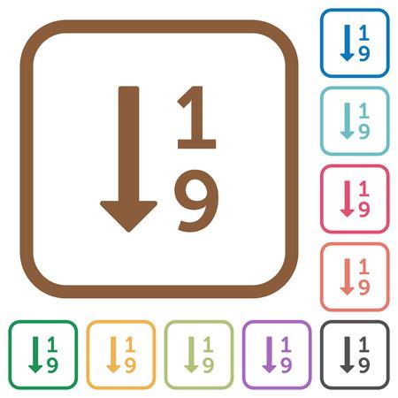 昇順の番号付きリスト シンプルなアイコン色で丸みを帯びた白地に正方形のフレーム
