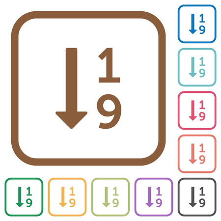 Ascending numbered list simple icons in color rounded square frames on white background