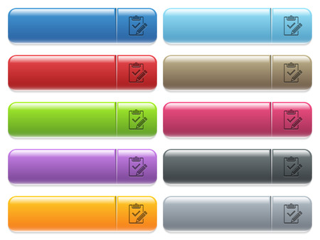 Fill out checklist engraved style icons on long, rectangular, glossy color menu buttons. Available copyspaces for menu captions.