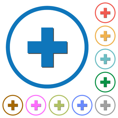 adds: Add new item flat color vector icons with shadows in round outlines on white background