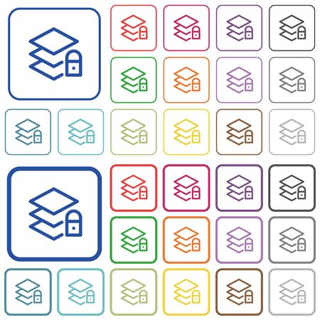 Locked layers color flat icons in rounded square frames. Thin and thick versions included.