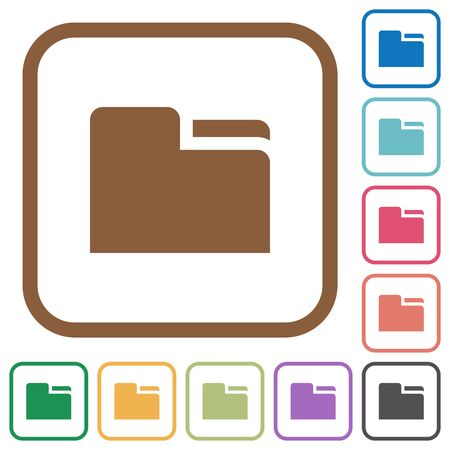 Tab folder simple icons in color rounded square frames on white background