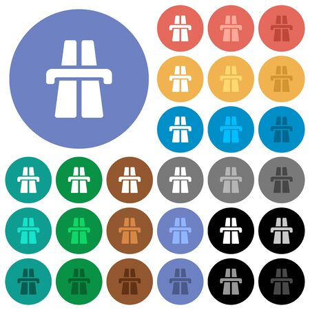Highway multi colored flat icons on round backgrounds. Included white, light and dark icon variations for hover and active status effects, and bonus shades on black backgounds. Illustration