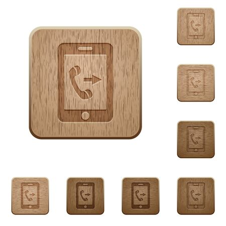 Outgoing mobile call on rounded square carved wooden button styles Illustration