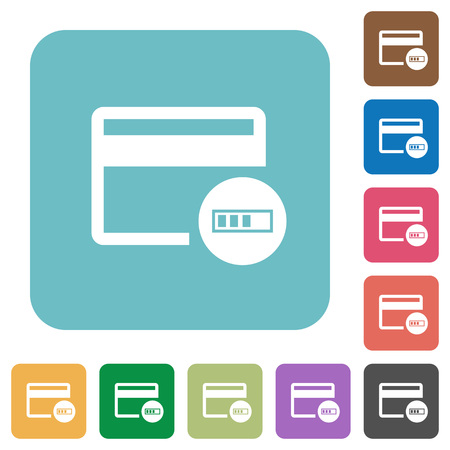 bankcard: Verifying credit card white flat icons on color rounded square backgrounds Illustration