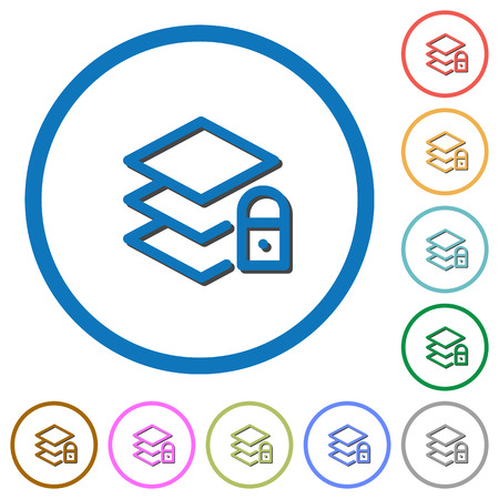 Locked layers flat color vector icons with shadows in round outlines on white background
