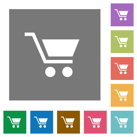naught: Empty shopping cart flat icons on simple color square backgrounds Illustration