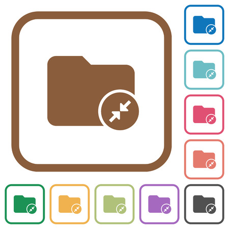 mass storage: Compress directory simple icons in color rounded square frames on white background Illustration
