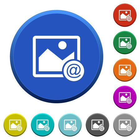 Send image as email round color beveled buttons with smooth surfaces and flat white icons