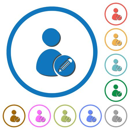 Edit user account flat color vector icons with shadows in round outlines on white background