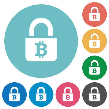 Locked Bitcoins flat white icons on round color backgrounds