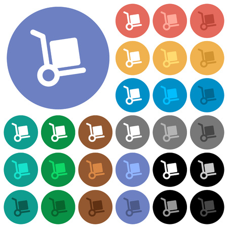 package deliverer: Hand truck multi colored flat icons on round backgrounds. Included white, light and dark icon variations for hover and active status effects, and bonus shades on black backgounds.