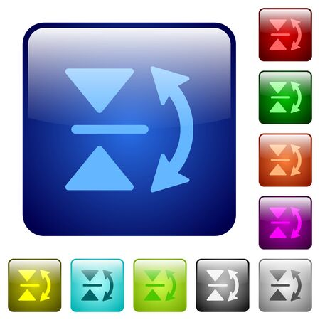 reverse: Vertical flip icons in rounded square color glossy button set