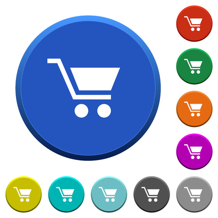 beveled: Empty shopping cart round color beveled buttons with smooth surfaces and flat white icons Illustration