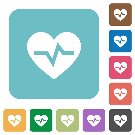 Heartbeat white flat icons on color rounded square backgrounds