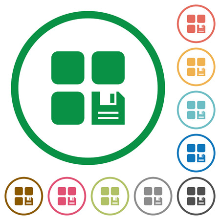 intercommunication: Save component flat color icons in round outlines on white background