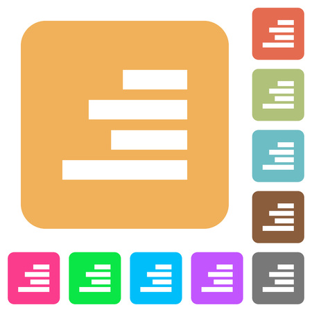 Text align right flat icons on rounded square vivid color backgrounds.