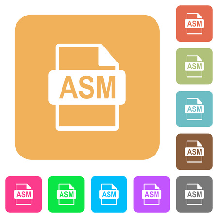 ASM file format flat icons on rounded square vivid color backgrounds.