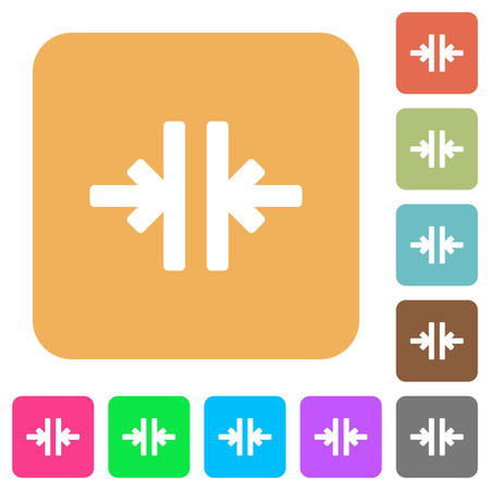 Vertical merge tool flat icons on rounded square vivid color backgrounds.