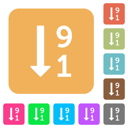 descending: Descending numbered list flat icons on rounded square vivid color backgrounds.
