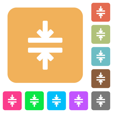 Horizontal merge tool flat icons on rounded square vivid color backgrounds.
