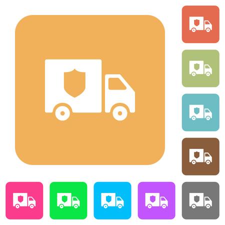 Money deliverer truck flat icons on rounded square vivid color backgrounds. Illustration