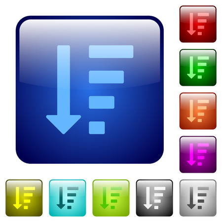 descending: Descending ordered list mode icons in rounded square color glossy button set Illustration