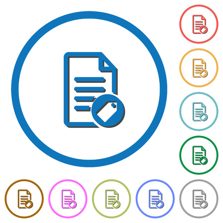 Tagging document flat color vector icons with shadows in round outlines on white background Illustration