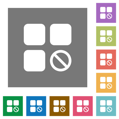 intercommunication: Component disabled flat icons on simple color square backgrounds
