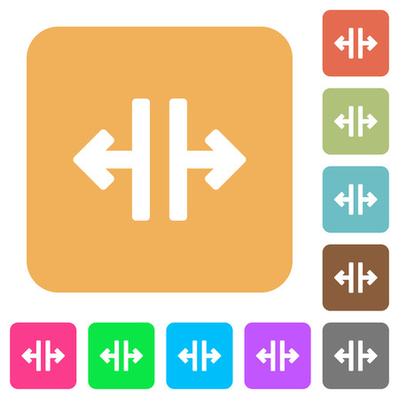 Vertical split tool flat icons on rounded square vivid color backgrounds.
