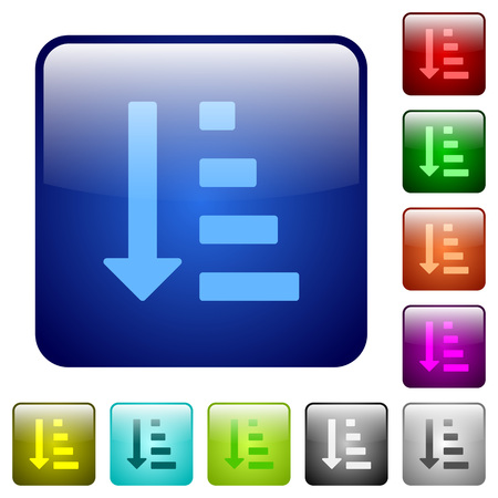 Ascending ordered list mode icons in rounded square color glossy button set Illustration