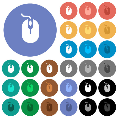 Computer mouse multi colored flat icons on round backgrounds. Included white, light and dark icon variations for hover and active status effects, and bonus shades on black backgounds. Illustration